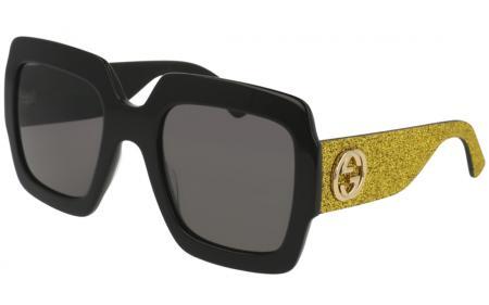 Gucci Damen Sonnenbrille GG0102S 002, Schwarz (Black/Grey), 54